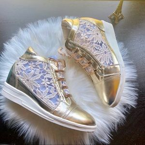 NWOT Gold High-tops with Floral Lace Detail